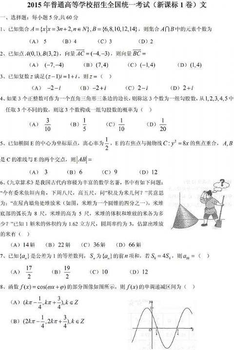 2015年高考新课标2 数学文科试题